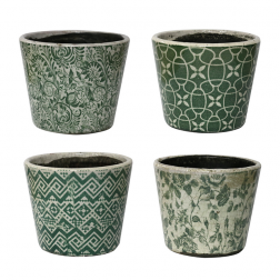 Green Antiqued White Planters image