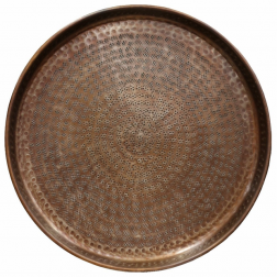Round Tray Beaten in Brass Antique Finish image