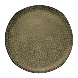 Round Beaten Organic Shape Tray in Verdigris Antiqued Finish image