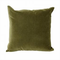 Olive Velvet Cushion Linen Back image