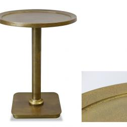 Round Side Table Antiqued brass finish image