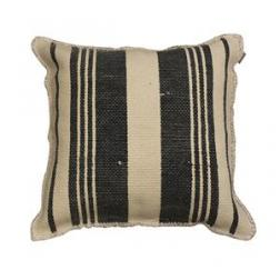 Charcoal Striped Fray cushion image