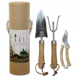 Three Piece Garden Tool Set Stainless Steel And Wood image