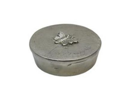 Round Silver Box with Bee Design  image