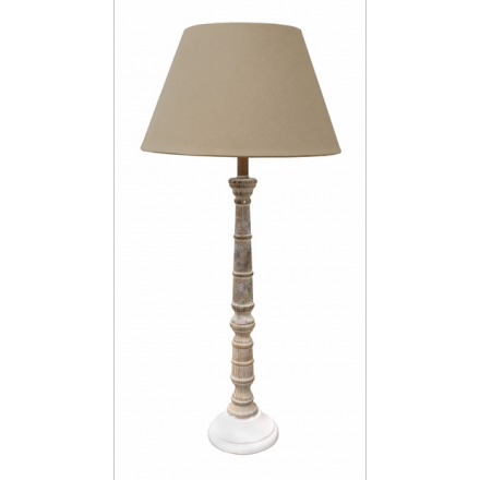Taupe and White Ridged Lamp image